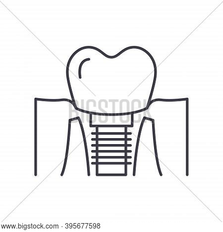Dental Implants Icon, Linear Isolated Illustration, Thin Line Vector, Web Design Sign, Outline Conce