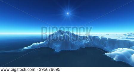 Ice Berg On See 3D Render