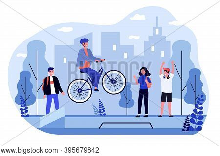 Freestyle Bike Riding. Cheerful Guy In Helmet Jumping With His Bicycle Flat Vector Illustration. Ext