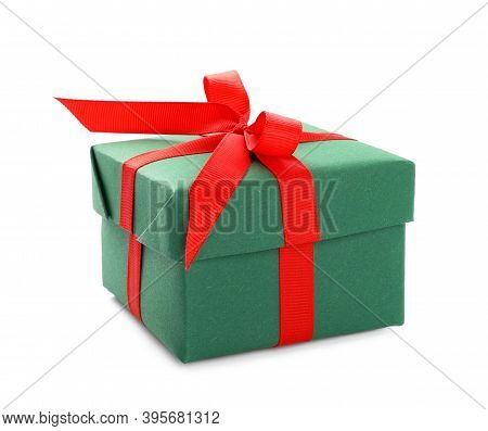 Christmas Gift Box Decorated With Red Bow Isolated On White