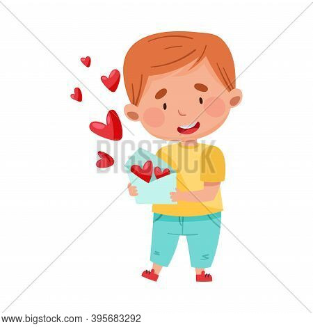 Flushed Red-haired Boy Character Holding Envelope With Heart Valentines Cards Vector Illustration