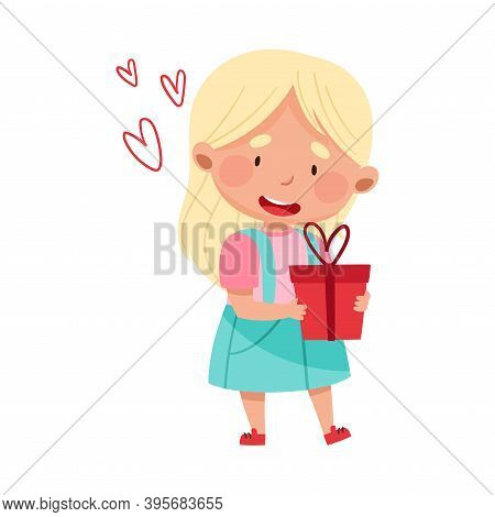 Flushed Girl Character Holding Gift Box Vector Illustration