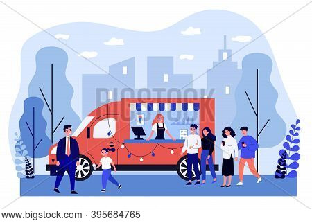 People Buying Ice Cream In Truck. Mobile Kiosk, Vehicle, Queue Flat Vector Illustration. Summer, Str