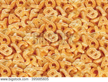 Crispy And Crunchy Salty Wheat Abcd & Alphabet Shaped, Fryums Or Frymus, Fried And Spicy Snack Food,