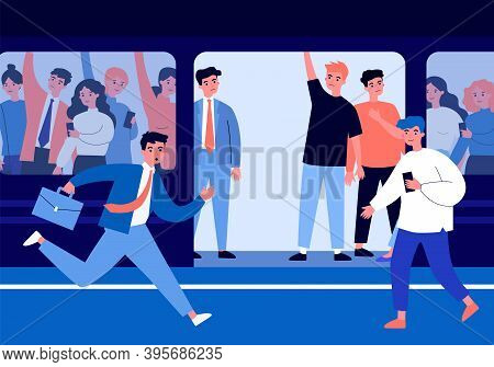 People Travelling By Subway Train. Commuters, Passengers, Crowd In Carriage Flat Vector Illustration