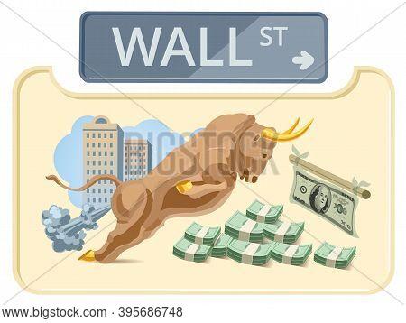 Wall Street Bull. Financial Center, Money. Wall Street Attacking Bull. Vector Illustration