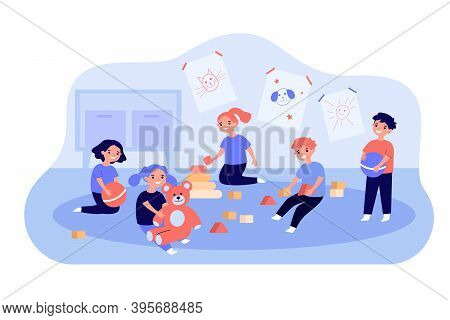 Cute Children Playing With Toy Cubes, Balls And Teddy Bear In Kindergarten. Vector Illustration For