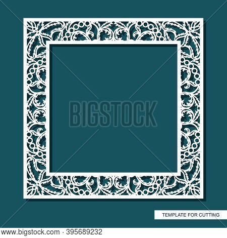 Square Frame For Photos, Pictures, Mirrors. Openwork Lace Pattern, Oriental Floral Ornament Of Leave