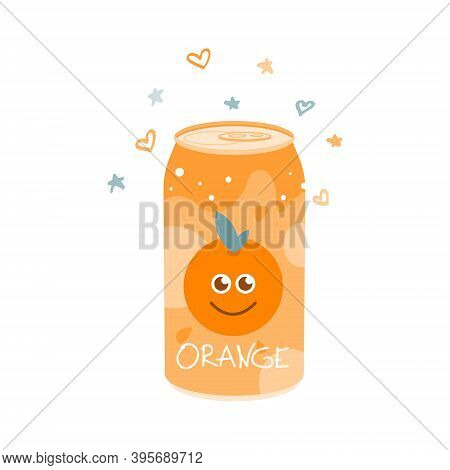 Non-alcoholic Orange Drink In An Aluminum Can. Cold Carbonated Juice, Sweet Water. Vector Illustrati