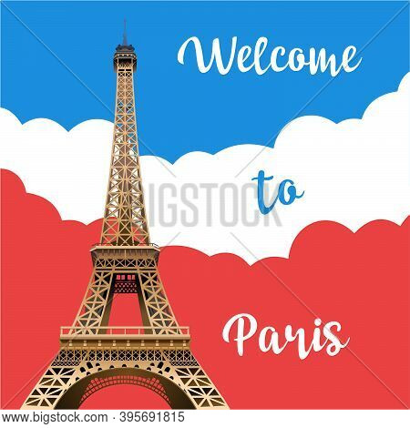 Eiffel Tower In Paris Against The Background Of The Flag. Symbol Of France. Tourist Place. Vector Il