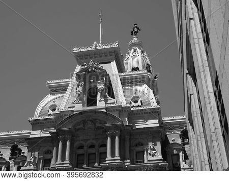 Philadelphia, Usa- June 11, 2019: Monochrome Image Of Philadelphia City Hall.
