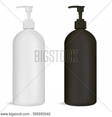 Black And White Pump Bottle Set. Cosmetic Package With Dispenser Cap For Shampoo Or Liquid Soap. Han