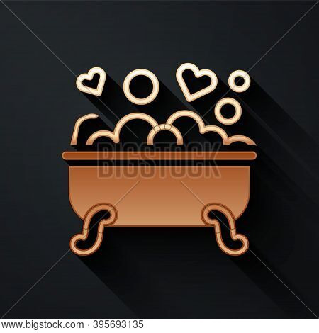 Gold Romantic In Bathroom Icon Isolated On Black Background. Concept Romantic Date. Romantic Bathroo