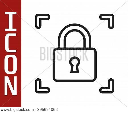 Black Line Fingerprint With Lock Icon Isolated On White Background. Id App Icon. Identification Sign