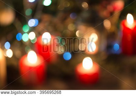 Defocus On Christmas Candle, Blurred Light In Christmas Night, Bokeh Light