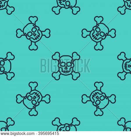 Black Line Skull On Crossbones Icon Isolated Seamless Pattern On Green Background. Happy Halloween P