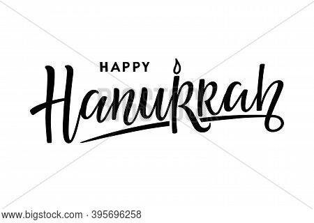 Happy Hanukkah Logotype, Badge, Icon Typography. Calligraphy Lettering Of Jewish Holiday Logo Templa