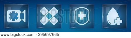 Set Medical Symbol Of The Emergency, Crossed Bandage Plaster, Medical Shield With Cross And Donate D