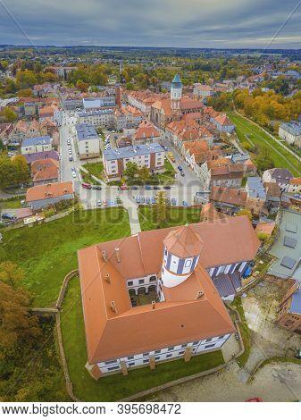 Kozuchow Castle - Aerial View. Kozuchow, Lubusz, Poland.