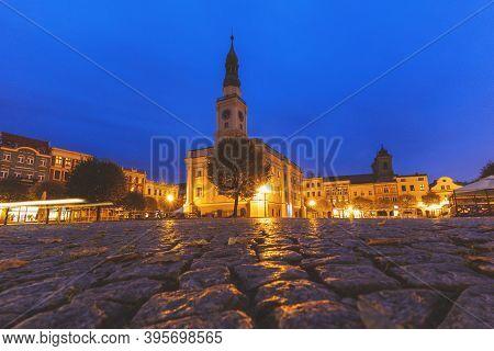 Leszno City Hall At Evening. Leszno, Greater Poland, Poland.
