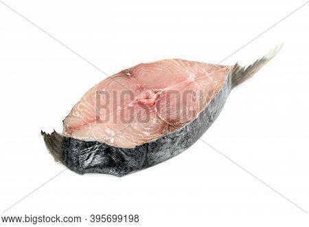 Spanish Mackerel Slice Or Spotted Mackerels Isolated On White Background ,scomberomorus