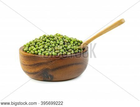 Green Mung Beans With Bowl And Wooden Spoon Isolated On White Background