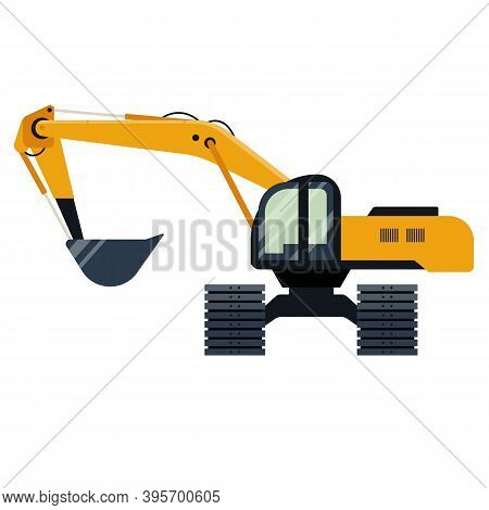 Excavator Industrial Machinery Icon Isolated On White Background. Vector Illustration. Digger, Shove