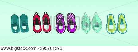 Set Of Snow Shoes. Cartoon Icon Design Template With Various Models. Modern Vector Illustration Isol