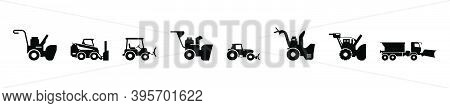 Snow Blowing Machine And Snow Cannon. Cartoon Icon Design Template With Various Models. Modern Vecto