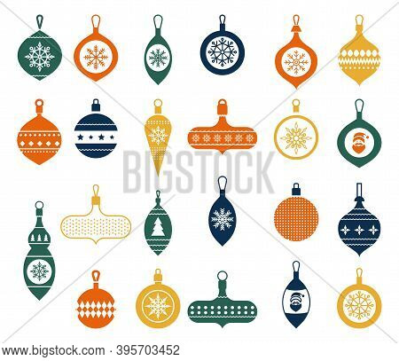 Christmas Balls In A Flat Style On A White Background. Modern Hand Drawn Baubles. Vector Illustratio