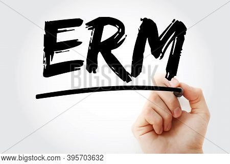 Erm - Enterprise Risk Management Acronym With Marker, Concept Background