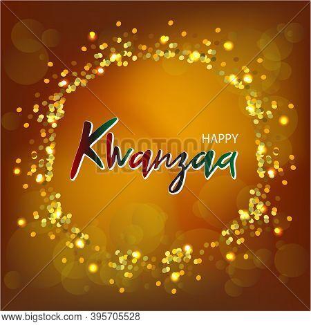 Vector Illustration Of A Happy Kwanzaa Greeting Card. Festive Handwritten Lettering, Logo On Gold Gl