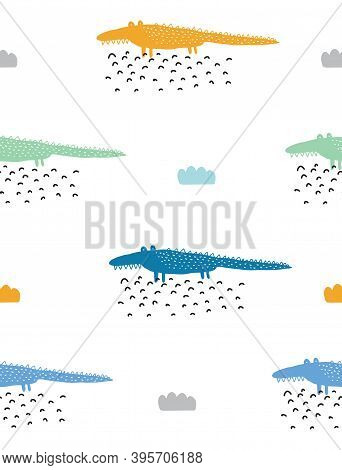 Cute Nursery Seamless Vector Pattern With Funny Hand Drawn Alligators. Colorful Crocodiles And Cloud