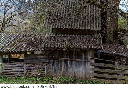 The Old Abandoned Wooden House In The Russian Village