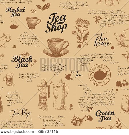 Seamless Pattern On The Theme Of Tea And Tea Shop With Sketches, Inscriptions And Handwritten Text L