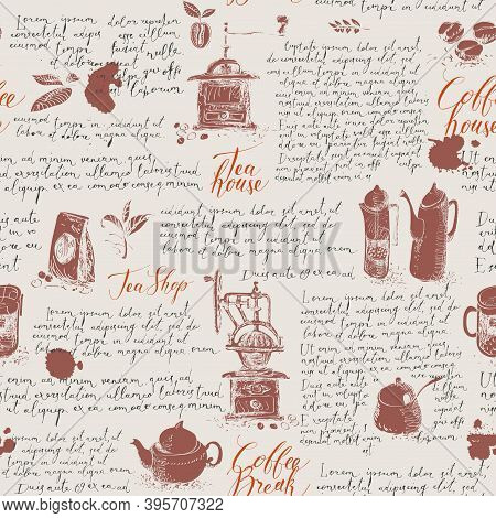 Vector Seamless Pattern On The Theme Of Tea And Coffee. Hand-drawn Background With Kitchen Items, Co