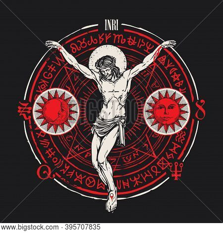 Hand-drawn Crucifix Of Jesus Christ With The Sun, Moon, Alchemical And Masonic Symbols On The Black