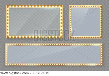 Mirror In Frame With Gold Lights With Light Makeup Lights In Changing Room Or Backroom.