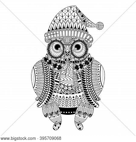 Hand Drawn Owl For Color Book Christmas Theme For Adult Other Decorations. Isolated On White Backgro
