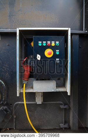 Control Panel On A Waste Press Container
