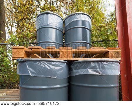 Storage Of Empty Oil Barrels At A Factory