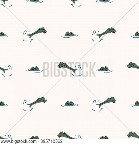 Cute Pond Jumpinh Frog Vector Pattern. Wildlife Amphibian Home Decor With Cartoon Lake Toad. Seamles