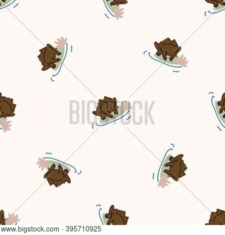 Cute Toad On Lily Pad Vector Pattern. Wildlife Amphibian Home Decor With Cartoon Lake Frog. Seamless