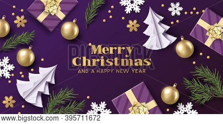 Merry Christmas Layout Design With Purple And Gold Colours, Christmas Decorations And Fir Branches.
