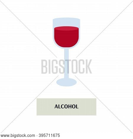 Isolated Icon Of A Glass Of Red Wine. Food Poisoning, Intoxication Human Body, Drunk Addiction And H