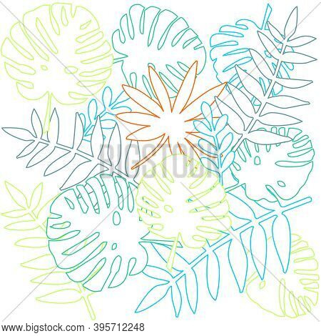 Tile Tropical Vector Pattern With Exotic Leaves Silhouettes On White Background