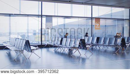 Vienna, Vienna/austria - November 2Nd 2020: Passengers Walking To Departure Gates At Vienna Airport.