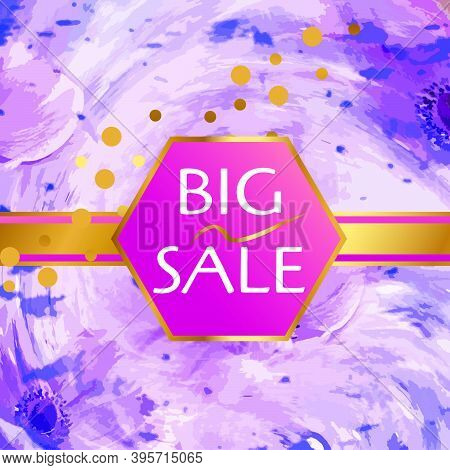Sale Flower Background, Lilac Pattern, Abstract And Discount