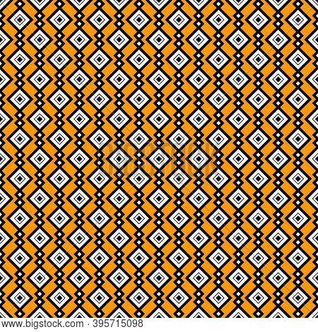 Ethnic, Tribal Seamless Surface Pattern. Repeated Diamonds And Rhombuses Motif. Folk Background. Fol