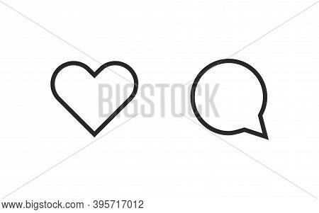 Heart And Comment Icon. Social Media Network Concept. Vector Web Button.